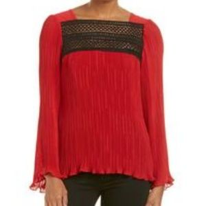 NWT Nanette Lepore Ticking Top Shirt Red
